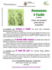 locandina incontri per mamme a Cremona